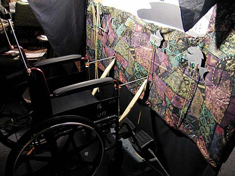 Shadow puppet theater mounted on a wheelchair